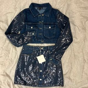 Honey Punch Denim & Sequin Two Piece - Size Small
